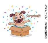 puppy jumping out of the box... | Shutterstock .eps vector #784676569