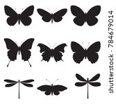 Stock vector vector set of butterflies and dragonflies on a white background silhouettes of butterflies and 784679014