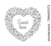 valentine s day vector doodle... | Shutterstock .eps vector #784695571