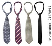 Set Of Four Ties Isolated On...