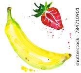 exotic banana and strawberry... | Shutterstock . vector #784710901