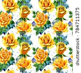 Stock photo wildflower rose flower pattern in a watercolor style full name of the plant yellow rose 784711375
