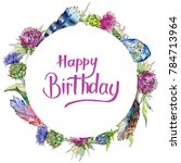 wildflower thistle flower... | Shutterstock . vector #784713964