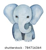 Stock photo cute little one baby elephant painting huge ears lovely eyes grey blue colours front view 784716364