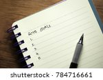 top view or flatlay of notebook ... | Shutterstock . vector #784716661