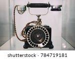 old retro black dial telephone  ...   Shutterstock . vector #784719181
