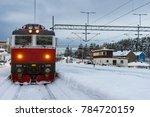 unlabeled red locomotive of... | Shutterstock . vector #784720159