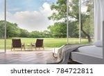 modern bedroom with garden view ... | Shutterstock . vector #784722811