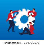 three businessmen repairing gear | Shutterstock .eps vector #784730671