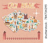 vector stylized map of czech... | Shutterstock .eps vector #784734295