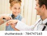 cute little girl smiling... | Shutterstock . vector #784747165