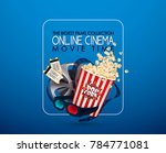 set of popcorn  3d glasses ... | Shutterstock .eps vector #784771081