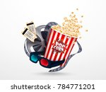 set of popcorn  3d glasses ... | Shutterstock .eps vector #784771201