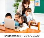 children looking at the... | Shutterstock . vector #784772629