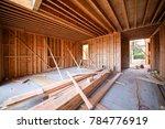 wood framing interior work in... | Shutterstock . vector #784776919