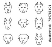straight line icon set dog face ... | Shutterstock .eps vector #784785601