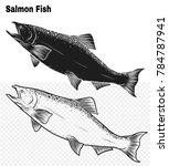salmon art highly detailed in... | Shutterstock .eps vector #784787941