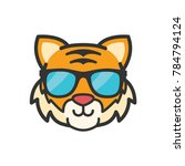 cute animal emoticon  glasses... | Shutterstock .eps vector #784794124