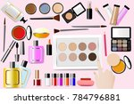 cosmetic accessories are around ... | Shutterstock .eps vector #784796881