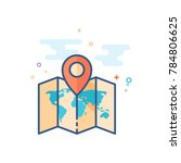 map icon in outlined flat color ... | Shutterstock .eps vector #784806625