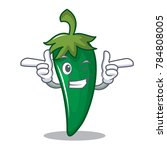 wink green chili character... | Shutterstock .eps vector #784808005