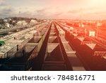 a lot of freight rail cars  a... | Shutterstock . vector #784816771
