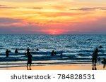 sunset on the ocean beach | Shutterstock . vector #784828531