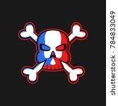 jolly roger logo skull with... | Shutterstock .eps vector #784833049