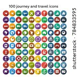 100 journey and travel flat... | Shutterstock .eps vector #784833595