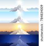 nature mountain set. a midday... | Shutterstock .eps vector #784834009