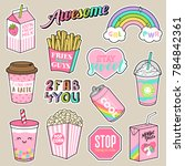 set of girl fashion patches ... | Shutterstock .eps vector #784842361