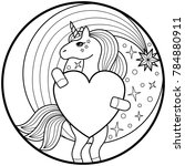 unicorn round print | Shutterstock .eps vector #784880911