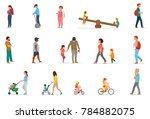 set of family leisure. lunch at ... | Shutterstock .eps vector #784882075