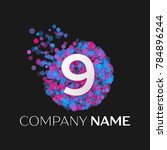realistic number nine logo with ... | Shutterstock . vector #784896244