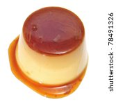 A Creme Caramel On A White...
