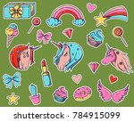 a set of stickers with unicorns ... | Shutterstock .eps vector #784915099