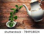 tea time concept. white ceramic ...   Shutterstock . vector #784918024