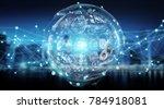 digital sphere and holograms... | Shutterstock . vector #784918081