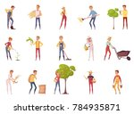 farmer gardener cartoon people... | Shutterstock . vector #784935871
