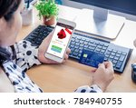 mobile business concept  female ... | Shutterstock . vector #784940755