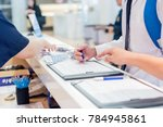 hand register for the seminar | Shutterstock . vector #784945861