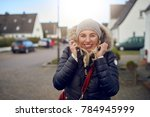 smiling happy middle aged woman ... | Shutterstock . vector #784945999