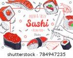asian food poster. vector hand... | Shutterstock .eps vector #784947235