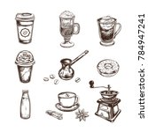coffee sketch icons set.... | Shutterstock .eps vector #784947241
