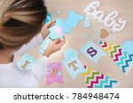 woman holding thank you card... | Shutterstock . vector #784948474