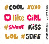 cute xoxo like girl sweet kiss... | Shutterstock .eps vector #784955509