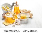 composition with honey and... | Shutterstock . vector #784958131
