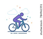 cycling icon in outlined flat...