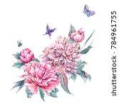 watercolor nature card pink... | Shutterstock . vector #784961755