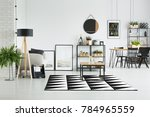 wooden table on black and white ... | Shutterstock . vector #784965559